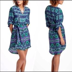 Maeve printed button down belted shirt dress sz XS